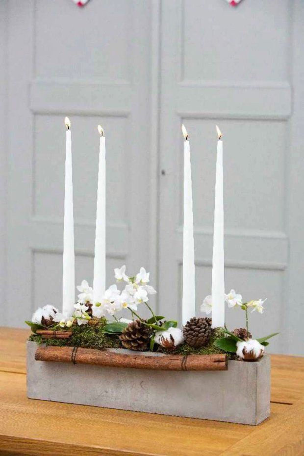 Subtle Advent candle holder \/ non wreath u2026 Pinteresu2026 - weihnachtsdeko ideen