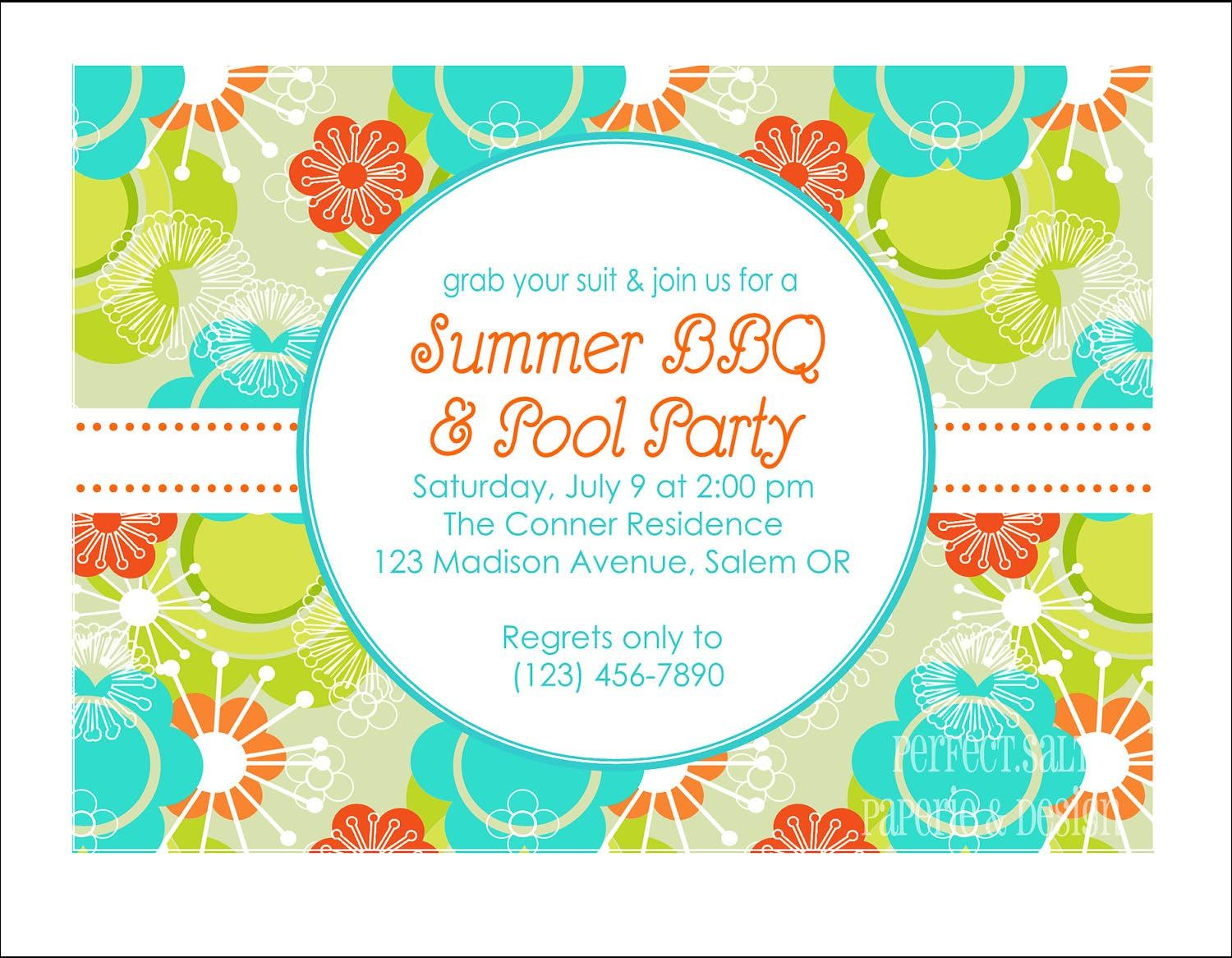 Bbq And Pool Party Invitation Wording Bbq Pinterest Pool Party