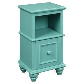 """1-drawer wood side table with a teal finish.   Product: Side tableConstruction Material: WoodColor: TealFeatures:  Open cubby spaceSquare-shaped single drawer Dimensions: 25.25"""" H x 14"""" W x 12"""" D"""