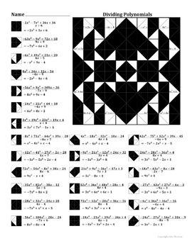Dividing Polynomials Color Worksheet