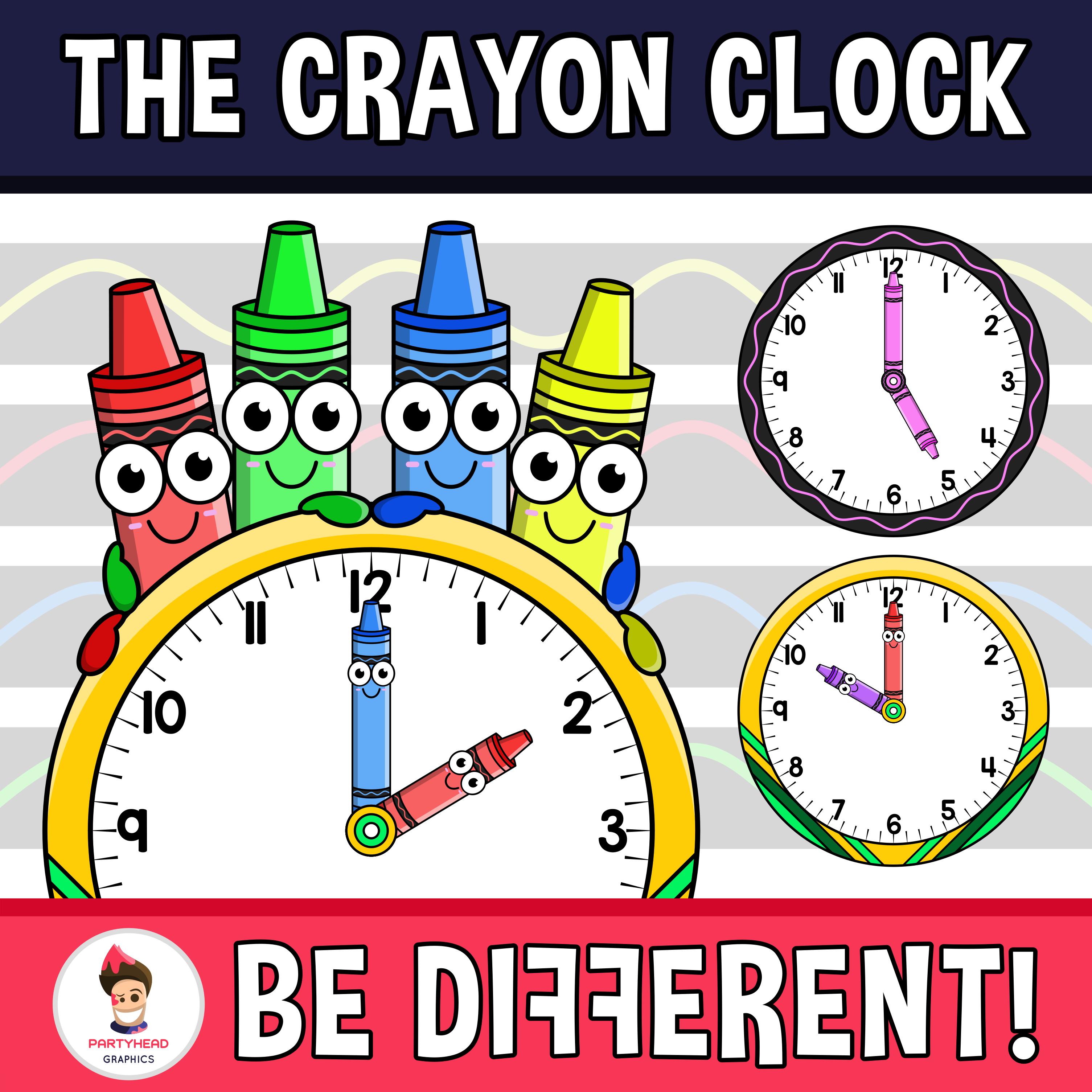 The Crayon Clock Clipart Clock Clipart Clock Clip Art