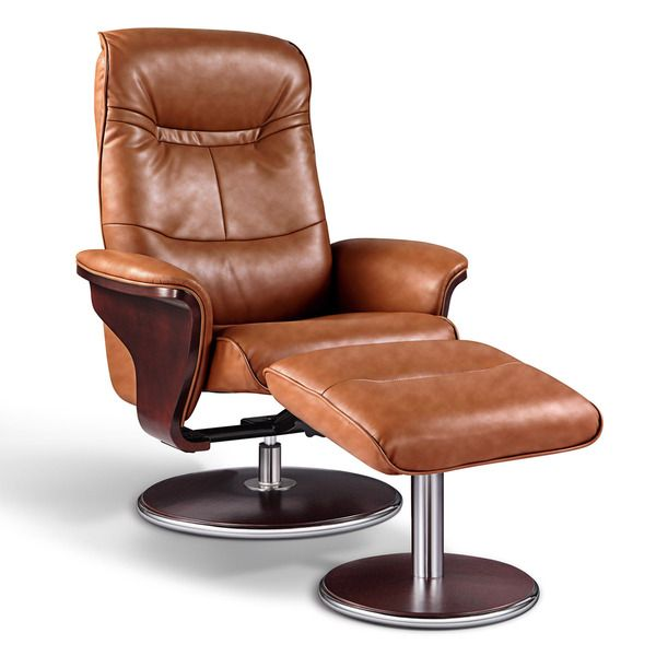 Artiva Usa Milano Modern Bend Wood Brown Leather Swivel