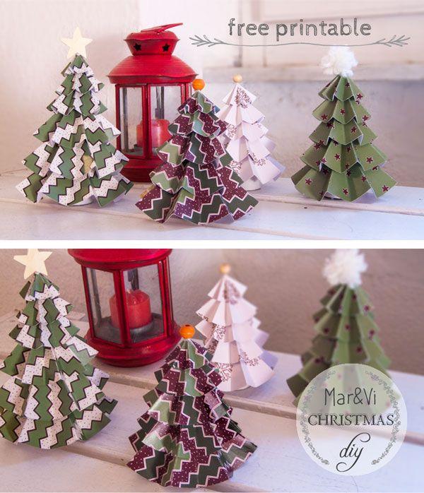 Árboles de Navidad de papel para imprimir gratis | Free printable ...