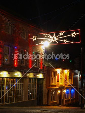 Helston at night with Christmas Lights