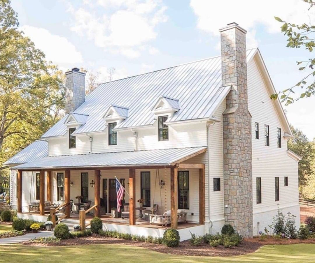 Farmhouse Is My Style On Instagram Perfect Covered Porch And Wood Beams Against A Whit Modern Farmhouse Exterior House Designs Exterior White Exterior Houses