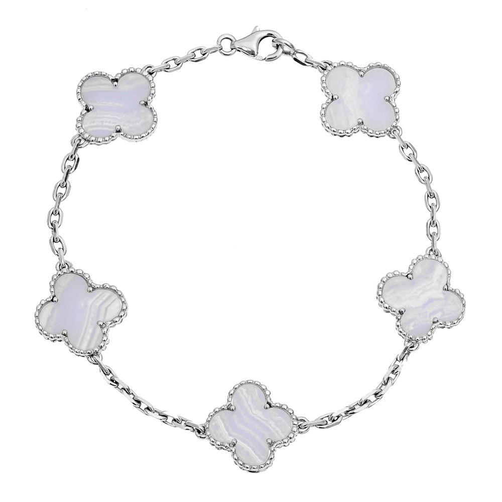 Van cleef u arpels vintage alhambra bracelet in white gold and