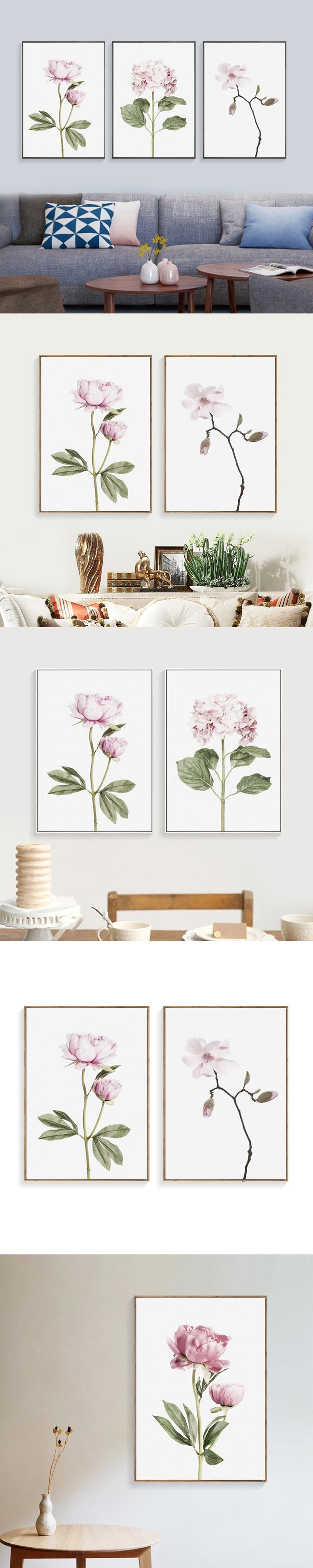 Nordic pink flower wall art canvas painting canvas pictures for