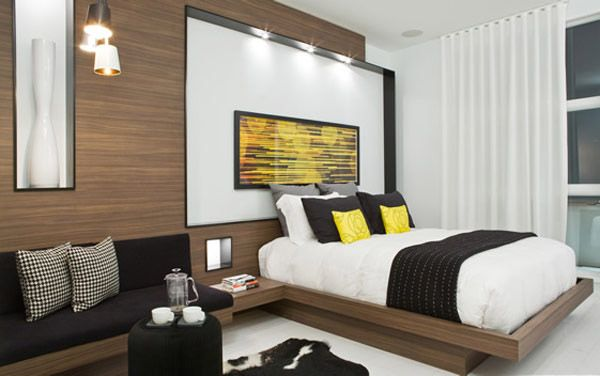 Black, White And Yellow Color Combination For Contemporary Apartment  Decorating