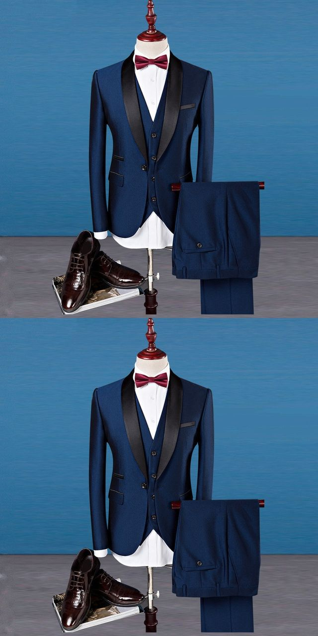 Classic Shawl Collar Men Suits Three-piece Suit Plus Size Business ...