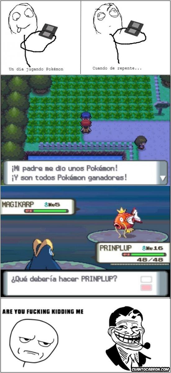 Es difícil ser un maestro Pokémon con un padre tan troll.