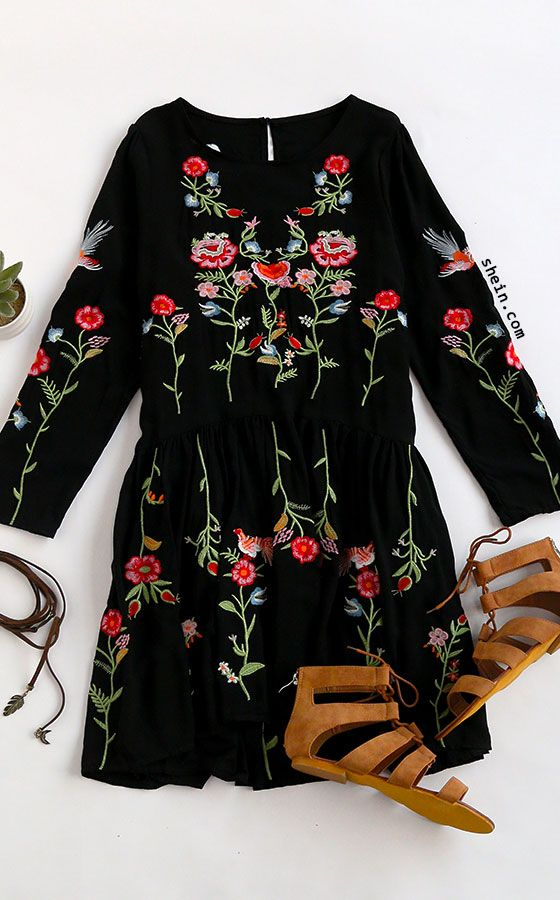 Black Flower Embroidery Keyhole Back Pleated Dress | Style 2.0 ...