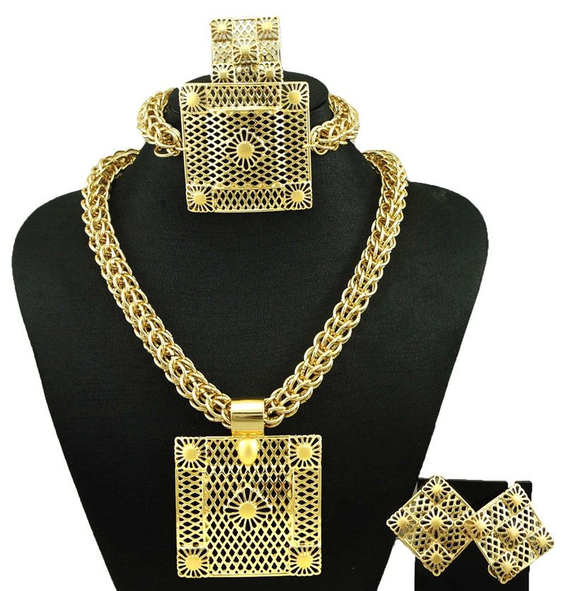 Dubai banhado a ouro jóias finas conjunto de jóias moda feminina colar de jóias finas define mulheres necklace18k conjuntos de jóias