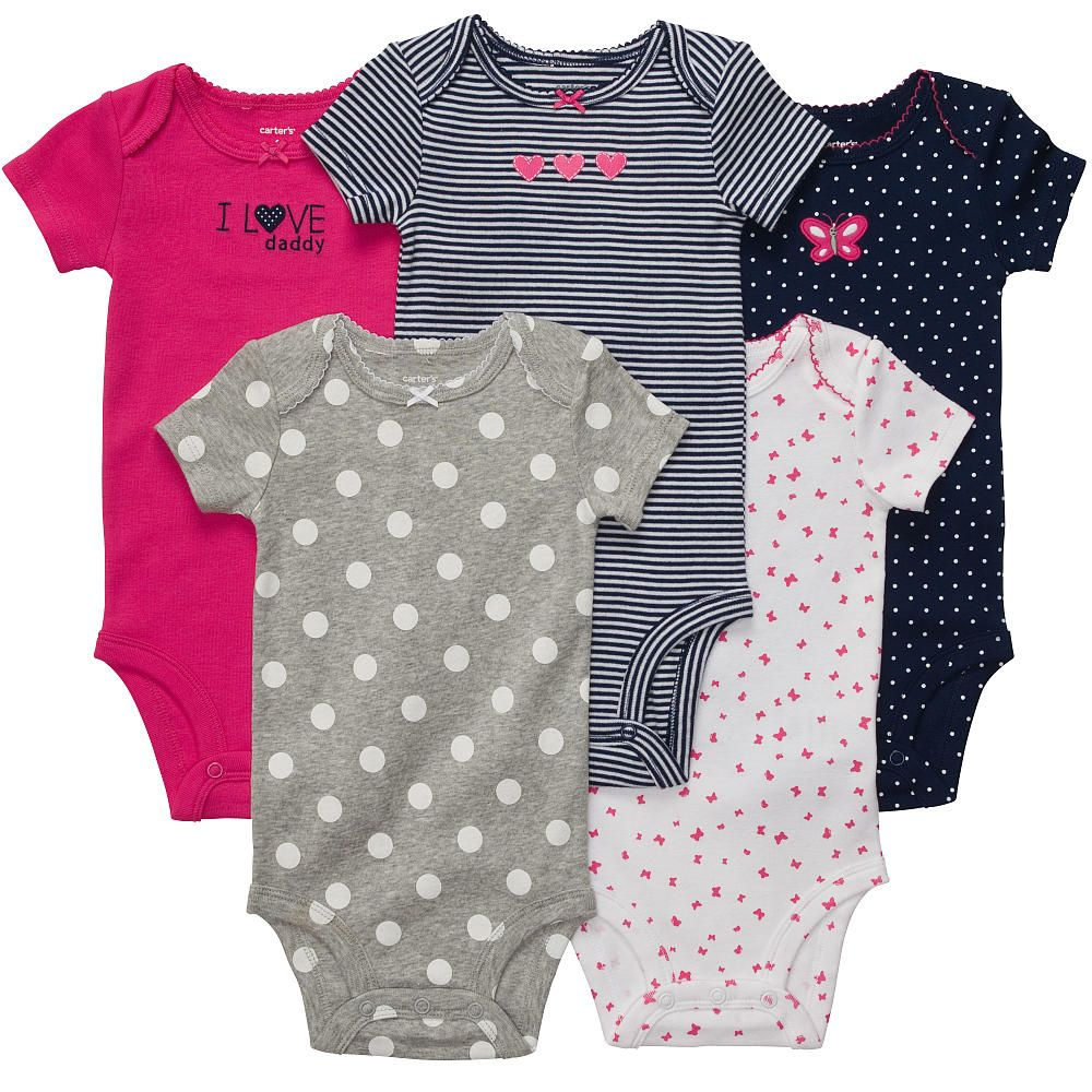 Carters Girls I Love Daddy 5 Pack Assorted Embroidered Bodysuits