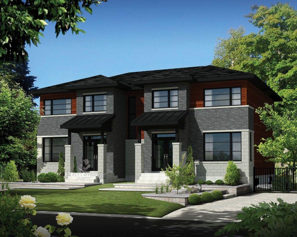 Ces Maisons à étage Jumelées De Style Urbain Présentent Une Belle Façade De  Briques, De Blocs De Béton Et De Bois En Plus Du0027une Fenestration Généreu2026