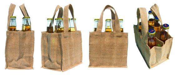Set Of Three 6 Pack Beer Bottle Bag Hand Made Out Jute And