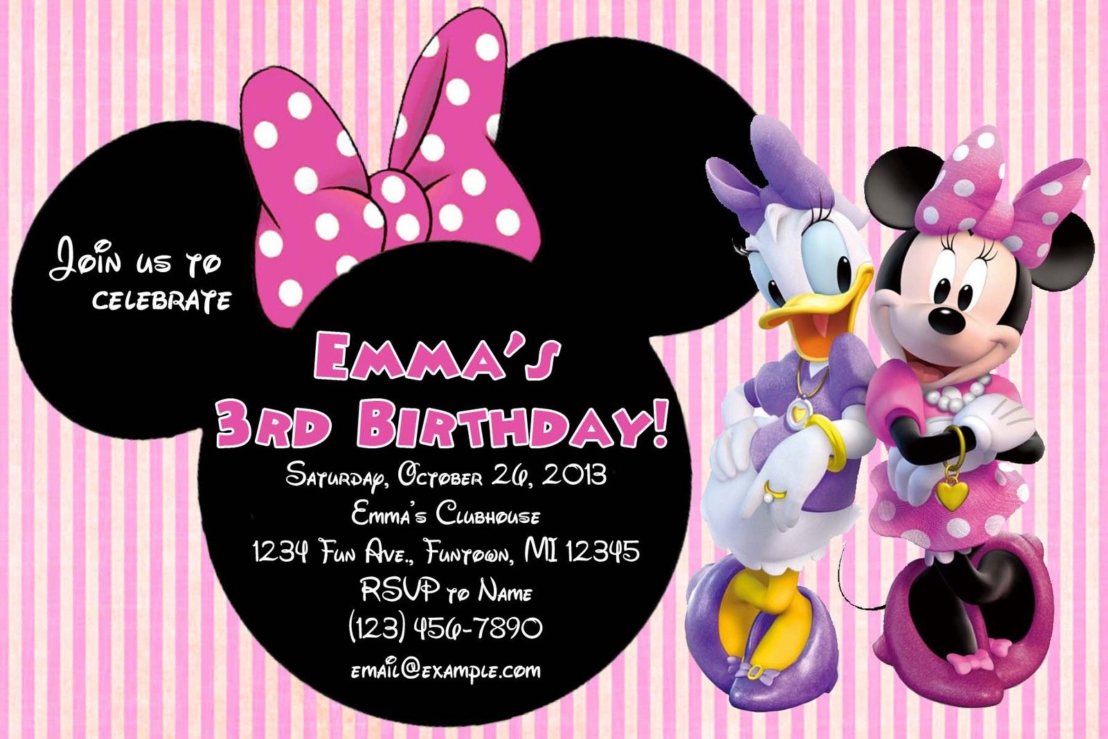 What A Lovely Invitation Card Idea To Make For Daisy Duck Party Theme