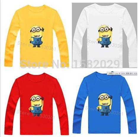 New 2015 100% Cotton boys t shirt despicable me 2 minion short t-shirts kids baby children t shirts, child long sleeve clothes