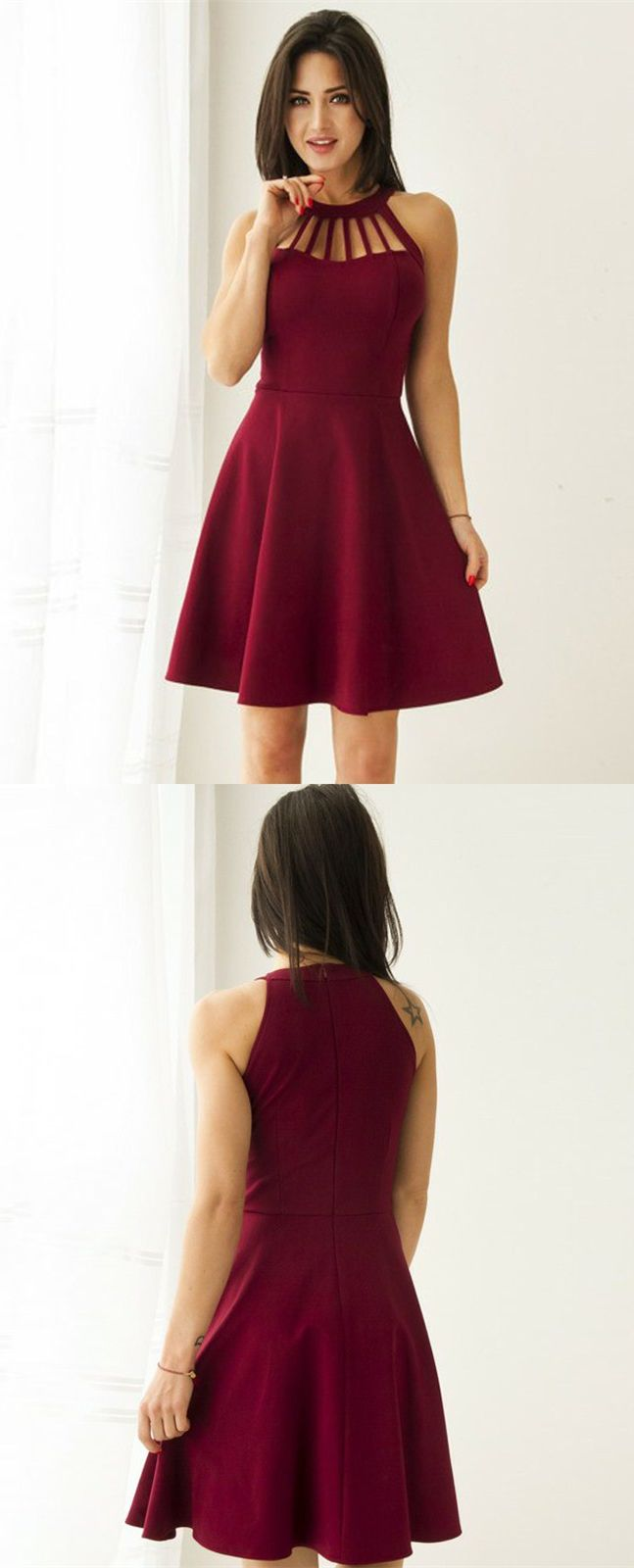 A-Line Round Neck Sleeveless Burgundy Satin Short Homecoming Dress ...