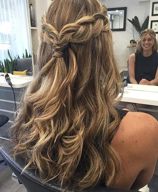 Braided crown curly half up style wedding hairstyles prom down also cute easy homecoming easyhairstyles rh pinterest