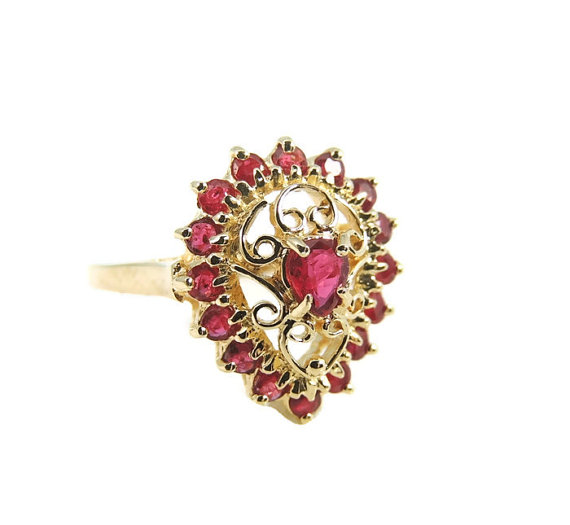 Estate RUBY Filigree Ring fit for a Queen 10k .94 CTW Perfect GIFT
