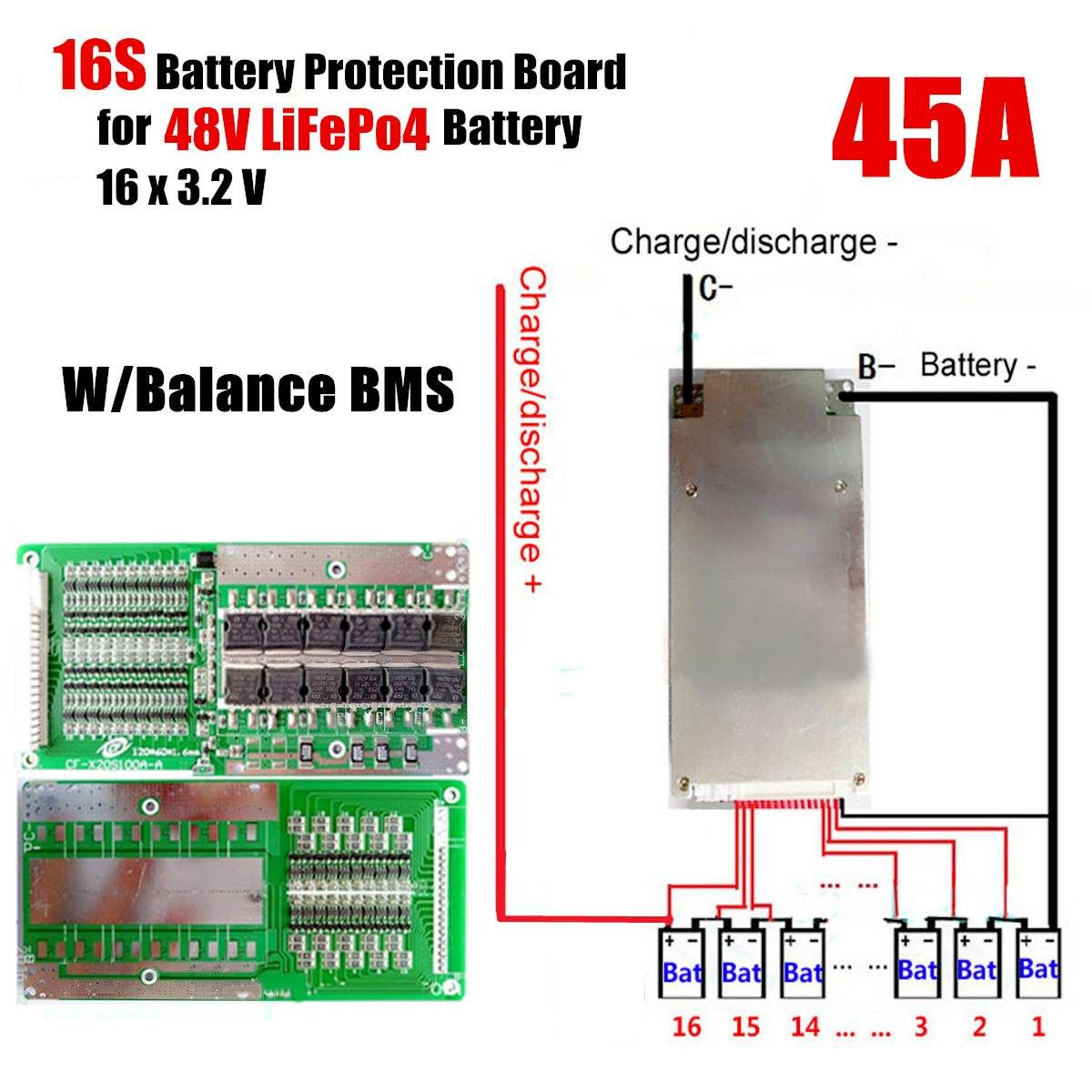 16s 45a 48v Li Ion Lithium Lifepo4 Battery Bms Lfp Pcm Power Protections Board Battery Lithium Battery Protection