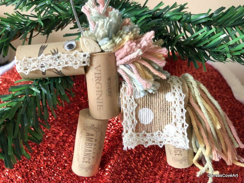 Set of 2 Wine Cork Pastel Carousel Horse Christmas Tree Ornaments