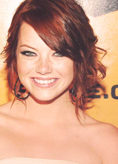 """Emma Stone, talented, funny and a true """"girl next door.""""  Love her eyes and her VOICE, really unique."""