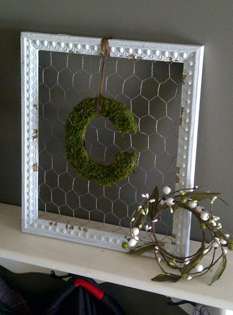 DIY:  How to Make a Moss Covered Letter - cute craft using a wooden letter, moss and an old frame - via Brick Home Love