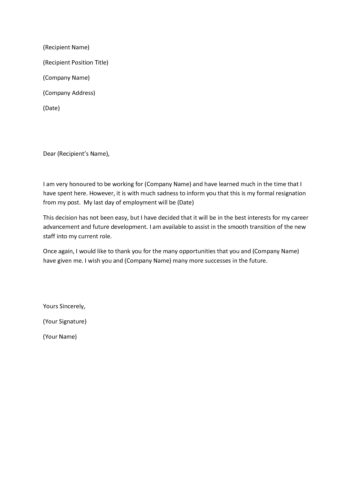 sample letter for quitting a job