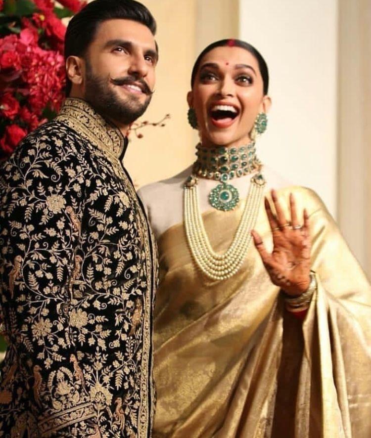 Deepika Padukone And Ranveer Singh Look Every Bit Royal As They Kickstart Their Wedding Reception Hungryboo Indian Celebrities Deepika Padukone Style Deepika Ranveer