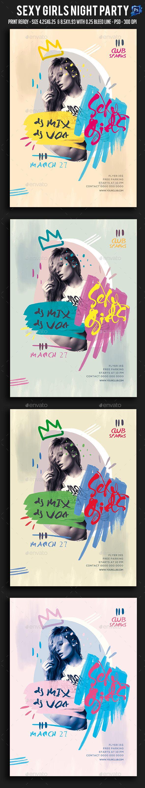 Sexy Girls Night Party Flyer | Anuarios, Mapas y Herramientas