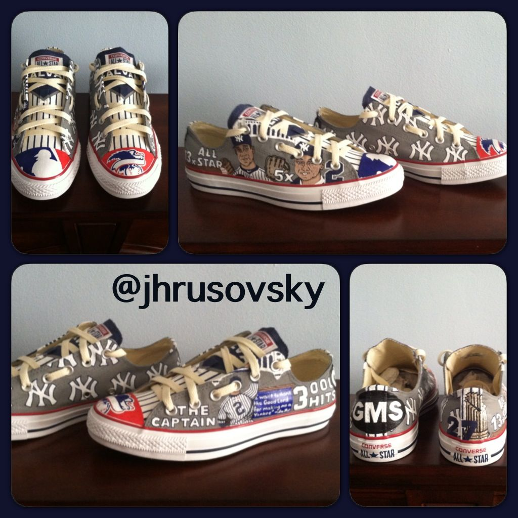bd021c8115097 NY Yankees + hand painted custom Converse All Star shoes | Painted ...