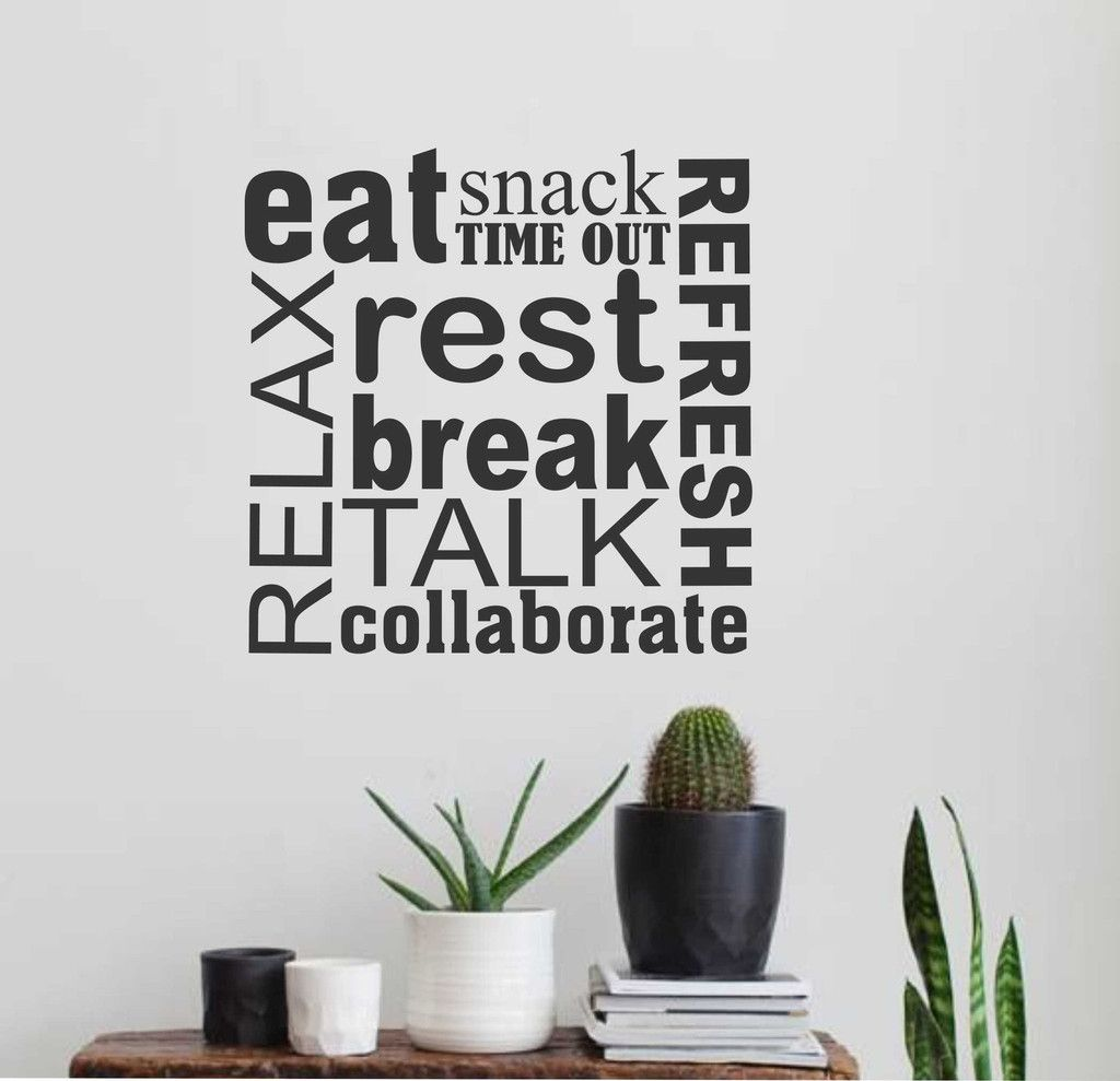 Break room word collage wall lettering vinyl office for Decoration word