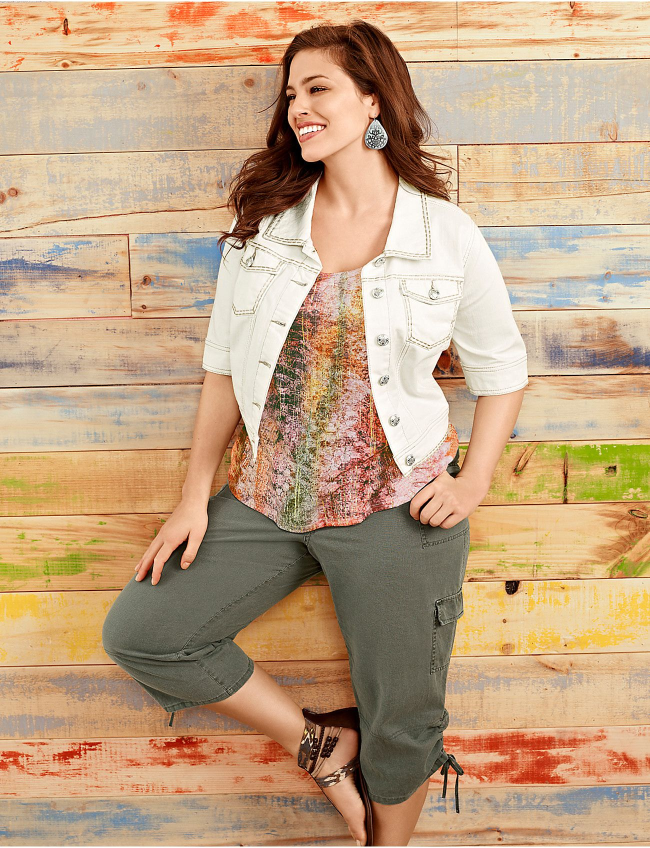 Plus size Short sleeve cropped denim jacket | Lane Bryant cute ...