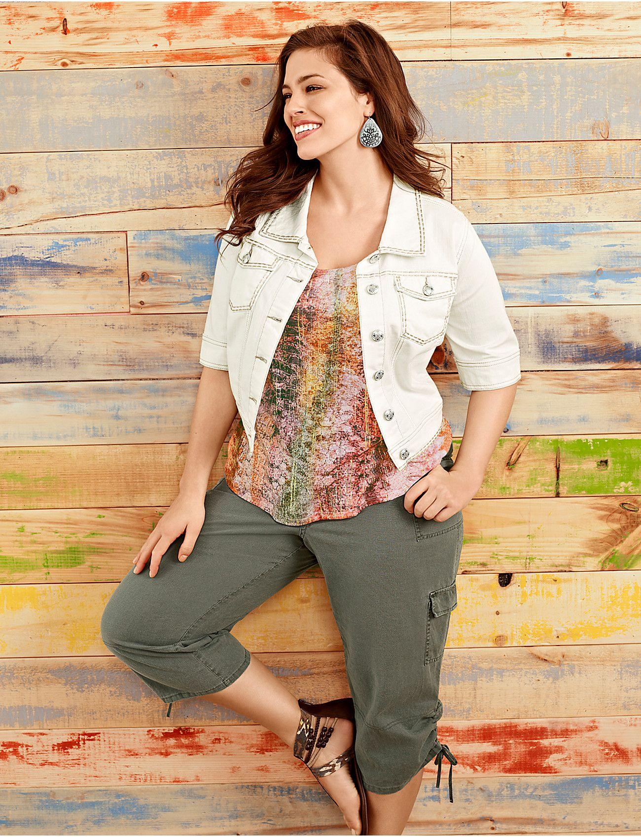 plus size short sleeve cropped denim jacket | lane bryant cute
