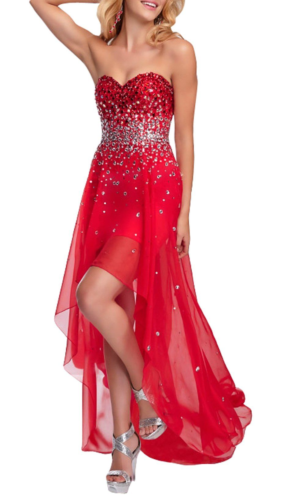 Dapene womenus sweetheart neckline rhinestone high low formal dress