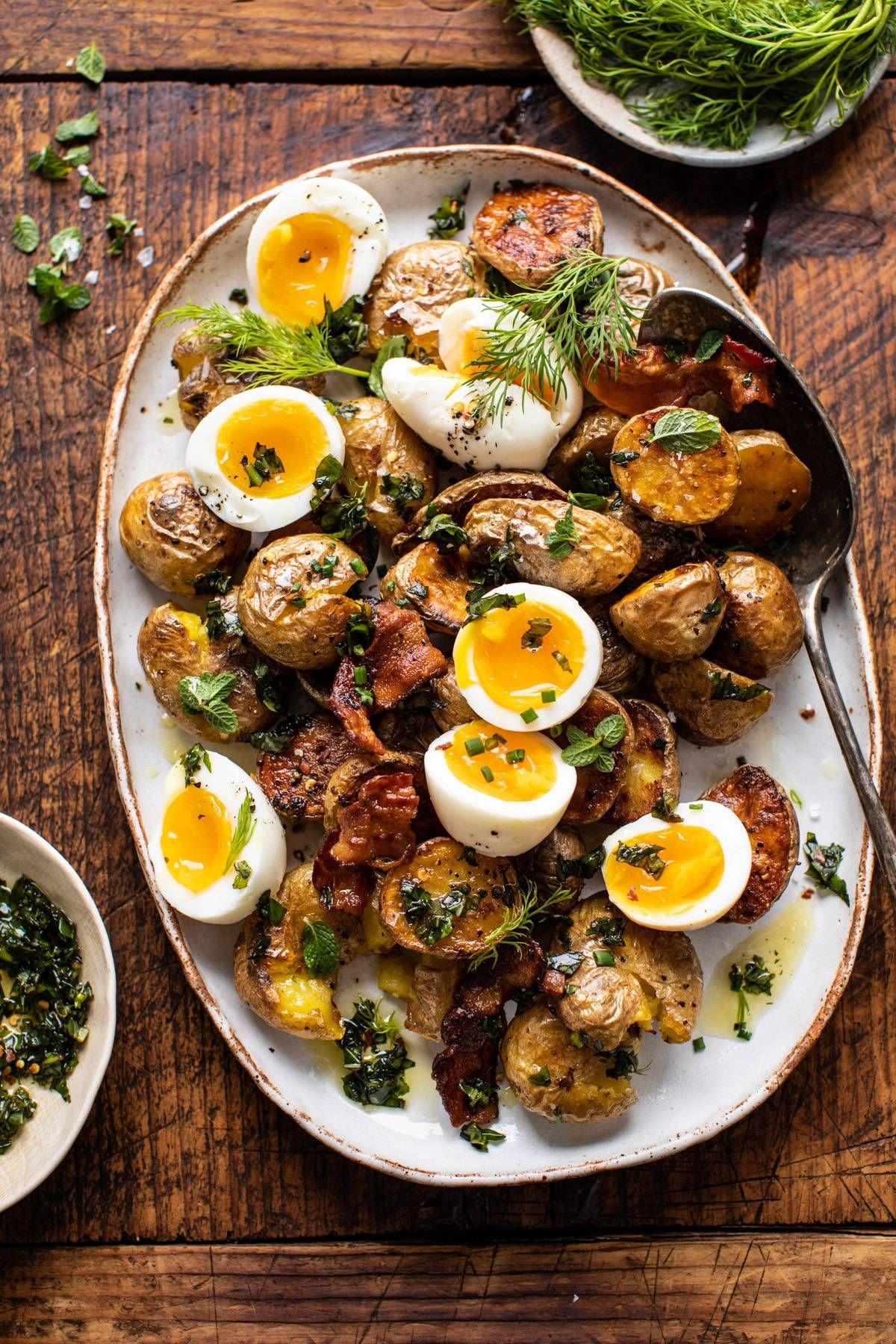 Crispy Breakfast Potatoes with Chili Garlic Oil and Herbs | halfbakedharvest.com #potatoes #breakfast #easyrecipes #brunch