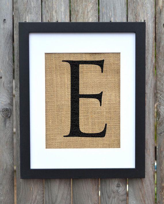Letter E monogram alphabet burlap wall decor FRAME IS INCLUDED   For ...