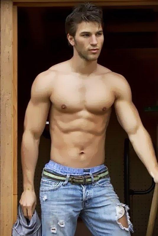 Shirtless boy wearing jeans