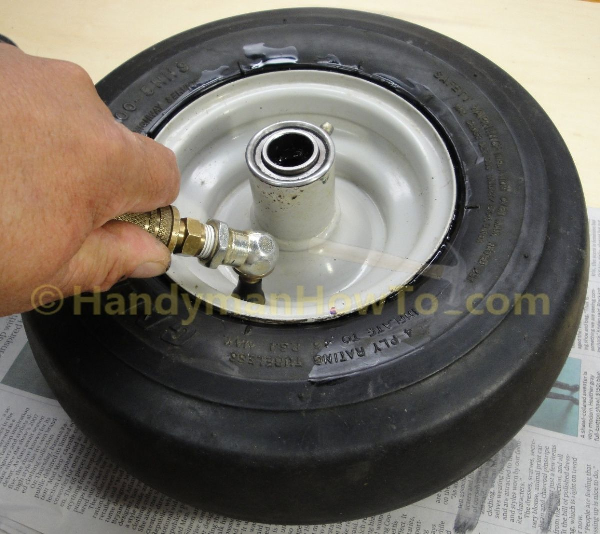 Inflate the Tire with Compressed Air Lawn mower tires