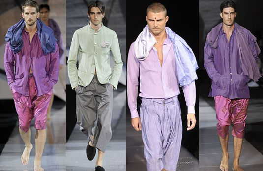 Dhoti and scarf inspired menswear at Giorgio Armani Spring Summer 2009 | Indian Inspired Fashion Goes International