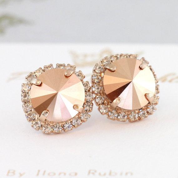 Rose Gold Earrings Rose Gold Swarovski Earrings Rose Gold Big Bridal Studs Gift For Her Christmas Gift Bridal Rose Gold Earrings Gold Swarovski Earrings Swarovski Earrings Swarovski Bridal Earrings