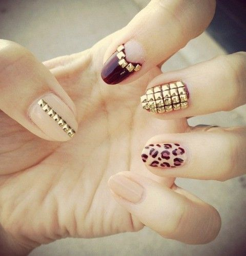 Studded Nail Art.....w/ a animal print and nude touch!