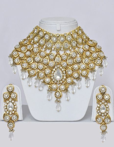 Jewelry From India Heavy Indian Bridal Jewelry Set With Stones