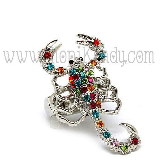 35802076 Multi Colored Crystal Scorpion Ring-scorpio, scorpion, signs ...