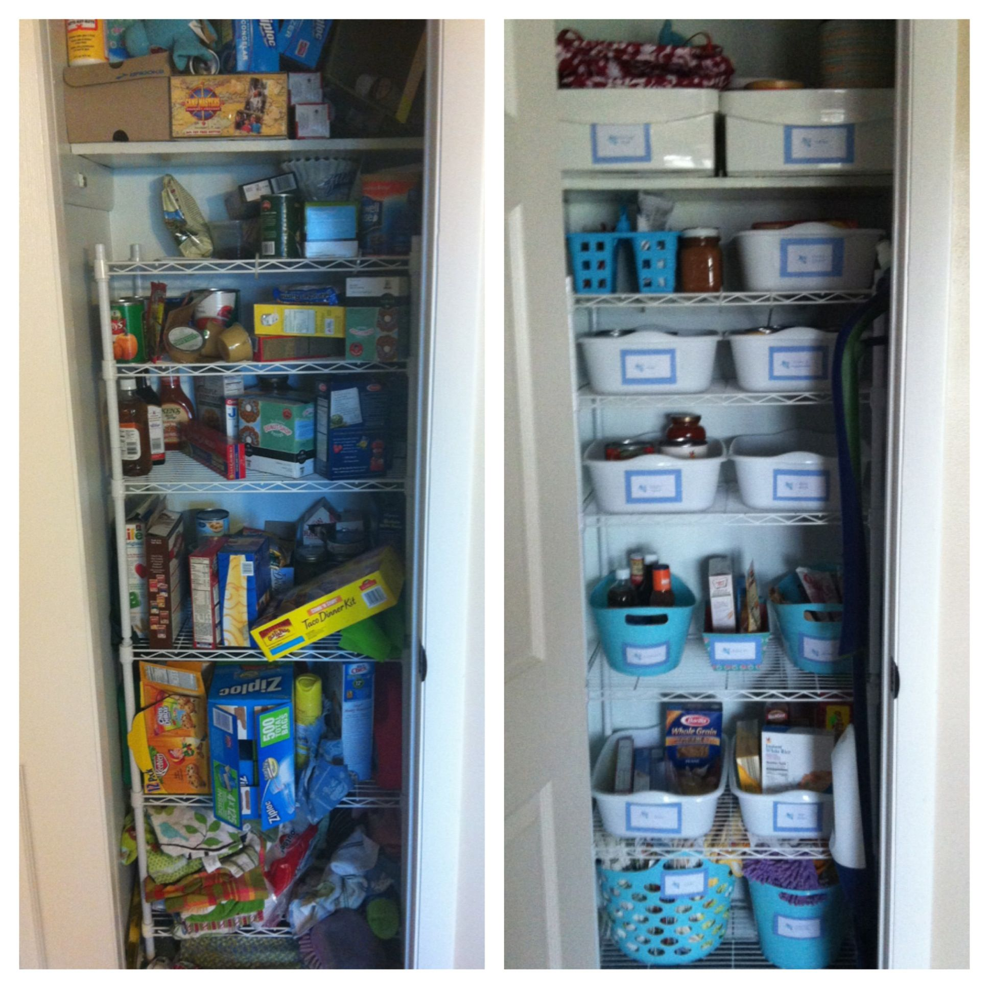 13 Best Kitchen And Pantry Organization Ideas: My $13 Pantry Makeover. Bought The White Dish Bins And
