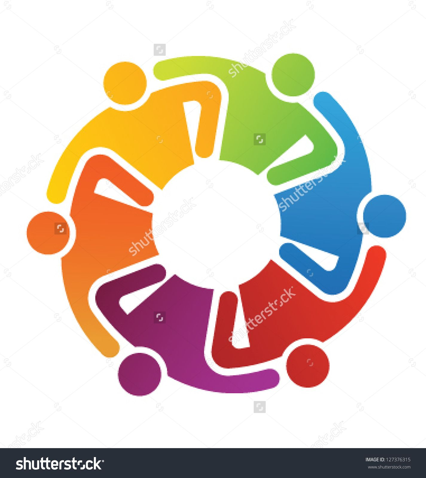 Vector Icon Graphic Teamwork Hug 6 Group of People