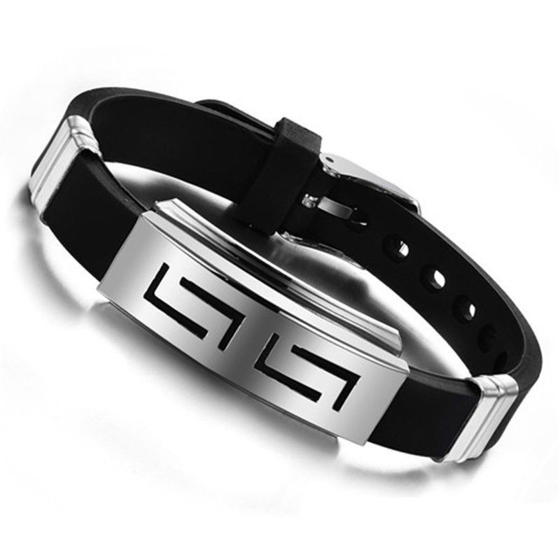 Men & Teens Stainless Steel and Black Silicone Bracelet