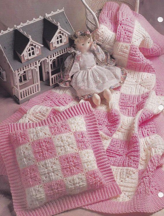 Blue Ruffles on White, Annie\'s Attic Crochet Quilt & Afghan Pattern ...