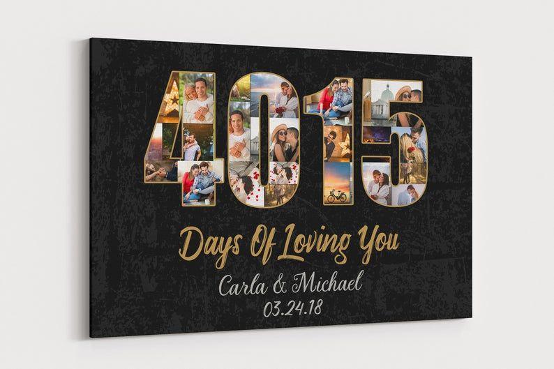 11 Year Wedding Anniversary Canvas 11th Wedding Anniversary Etsy Anniversary Canvas 11th Wedding Anniversary Gift Wedding Photo Collage
